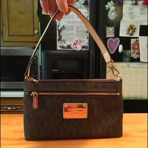 MK Canvas Coated Leather Purse or Wristlet NWOT